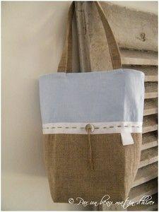 Réf.SACLINCIEL Bag - natural linen / cotton pique Sky Interior White Ribbon / puncture string linen Dimensions approx. 22.5 x22cm ** gift idea for Pa ...