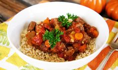 Beef and Tomato Stew healthy recipe made in the Crock Pot.