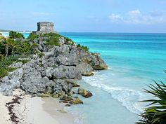 Tulum, Mexico - site of ancient ruins near Cancun. Ruins are very rare near the ocean, and this colorful coast takes my breath away!