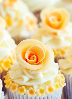 Pretty yellow flower cupcakes.