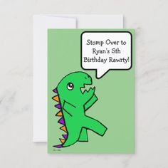 Dinosaur Birthday Invitation Green Flat Card