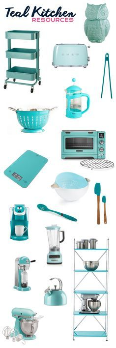 My Favorite Resources for Teal Kitchens - Teal Kitchen Utensils, Teal Kitchen Appliances, Teal Kitchen Accessories, and Teal Kitchen Storage Ideas for kitchen decor ideas Kitchen Utensil Storage, Kitchen Utensils, Kitchen Appliances, Kitchen Gadgets, Kitchen Cabinets, Kitchen Decor Themes, Kitchen Colors, Kitchen Ideas, Teal Kitchen Decor