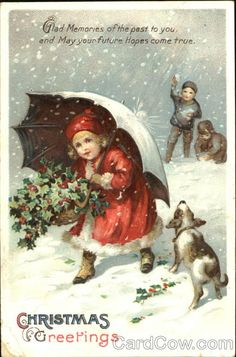 Divided Back Postcard Christmas Greetings Children Christmas Card Pictures, Vintage Christmas Photos, Victorian Christmas, Christmas Images, Christmas Postcards, Merry Little Christmas, Christmas Past, Christmas Greetings, Christmas Crafts