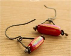 Red Sterling Silver Swing Earrings - Jewelry by Jason Stroud.