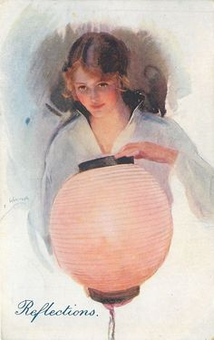 """WE Webster~""""Reflections"""" postcard of Pretty Girl With Japanese Lantern, 1912"""
