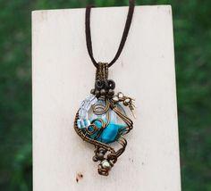 My Spiral Swirl World in Blue Glass Quartz Wire Wrap Artisan Pendant Necklace #Jeanninehandmade #Pendant