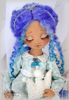 Принцесса Виолетта, текстильная кукла - синий,бирюзовый,принцесса,коллекционная кукла