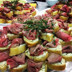 Roast Beef Sandwich On Baguette With Herbed Butter Wedding MenuWedding FoodsWedding IdeasRoast AppetizersRoast