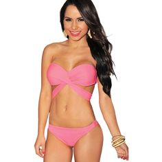 Pink Crossover Pucker Back Sexy 2pc Swimsuit ($25) ❤ liked on Polyvore featuring swimwear, one-piece swimsuits, pink, bikini swim suit, sexy swimsuits, sexy swimwear, halter top and sexy bathing suits