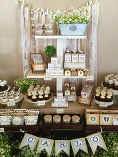 Rustic baptism party ideas! See more party planning ideas at CatchMyParty.com!