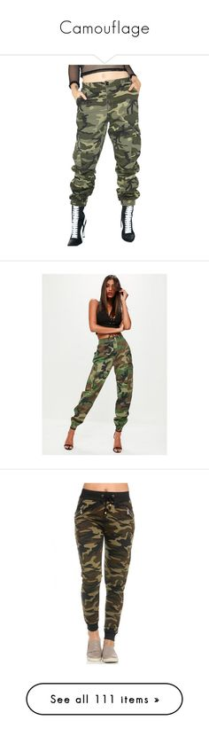 """""""Camouflage"""" by ultimateginger ❤ liked on Polyvore featuring pants, green cargo pants, loose fit cargo pants, baggy pants, loose fitting cargo pants, camouflage pants, khaki, camoflage cargo pants, camo khaki pants and green camouflage pants"""