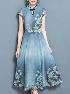 Shop Midi Dresses - Blue Printed Keyhole Swing Elegant Midi Dress online. Discover unique designers fashion at StyleWe.com.