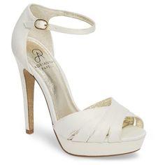 Women's Adrianna Papell Samoa Platform Sandal (170 AUD) ❤ liked on Polyvore featuring shoes, sandals, ivory classic satin, glitter shoes, platform shoes, ankle strap shoes, tall platform shoes and ankle strap platform sandals