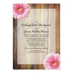 Pink Daisy Barn Wood Wedding Invitation