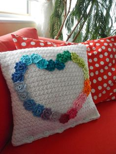 Apple Blossom Dreams: Rainbow Rose Heart Pillow