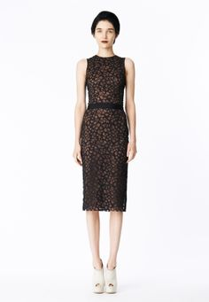 LOOK 17 Black honeycomb lace sheath dress with black cotton poplin waistband.