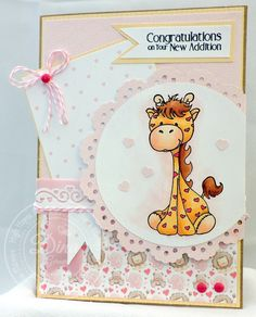Baby Girl New Addition card created using Buncha Scraps Baby Girl Collection and High Hopes Stamps