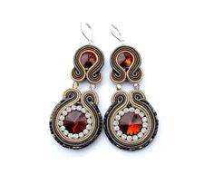 Dangle Earrings Soutache Earrings with Crystals by StudioGianna, $39.00