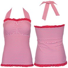 Ruffle Square Halter Pink Coral Chevron - S, M, L, XL Available