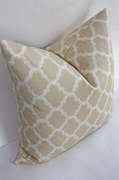 Moorish Trellis Pillow Cover/ 18 x 18 / Tan with by DecidedlyChic, $36.00