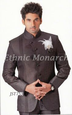 Jodhpuri Suit With Feather Brooch