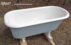 Refinishing the Porcelain Tub & Sinks: The bottle that fixed everything! ~ Mom and Her Drill Bathtub Cleaner, Bathtub Drain, Clawfoot Bathtub, Attic Bathroom, Bathroom Fixtures, Washroom, Cast Iron Tub, Antique Restoration, Bathtub Remodel