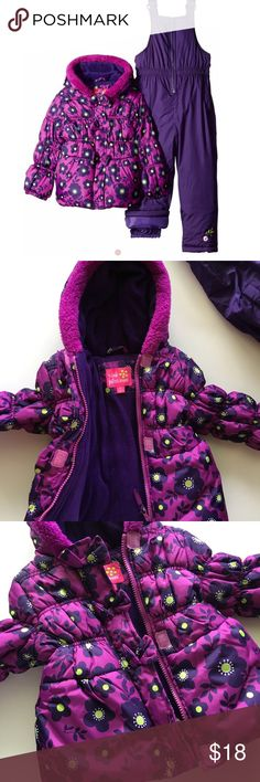 NWOT Snowsuit All over floral print, polar fleece lined jacket with the zipper closure, Sherpa trim on the hood. The pants have a storm gator closure and adjustable shoulder straps. The jacket and pants are both polyester filled for extra warmth. Removed tags and never worn. Pink Platinum Jackets & Coats Puffers