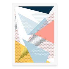 Poster Geométrico Rosa Azul Amarelo - AntiMonotonia Store