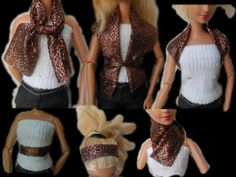 How to make doll clothes, no sew, scarf, headband top, belt and more out...