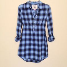 NWOT - VICTORIA'S SECRET Tunic/Dress NWOT - Victoria's Secret Blue and Black Stripped LIGHT Flannel Tunic/Dress with elastic waist, button down front and button up sleeves. 100% Cotton. Never Worn. Victoria's Secret Dresses Long Sleeve