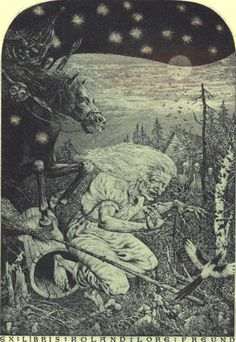Baba Yaga bookplate, by Konstantin Kalinovich. From the collection of Richard Sica. Baba Yaga, Illustrations, Illustration Art, Botanical Illustration, Maleficarum, Wicked Witch, Evil Witch, Witch Art, Mystique