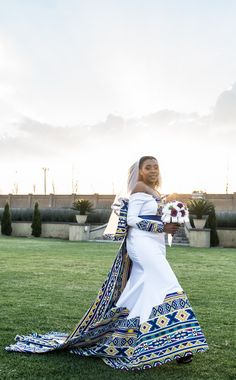 A Bohemian Themed Wedding In An Ndebele Dress African Wedding Theme, African Wedding Attire, African Attire, African Dress, South African Traditional Dresses, Traditional Wedding Dresses, African Print Fashion, African Fashion Dresses, African Bridesmaid Dresses