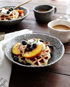 Orange-Thyme Waffles with Mascarpone and Fruit