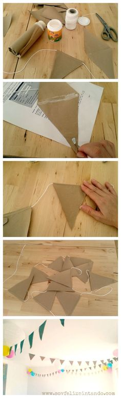 Really cheap and easy way of making bunting Diy Fest, Diy And Crafts, Paper Crafts, Cowboy Party, Baby Shower, Ideas Para Fiestas, Fiesta Party, Diy Party, Holidays And Events