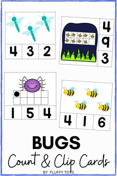 My kids love Count and Clip cards activities.  She never has enough, so I created this Bugs count and clip cards for her.  There are over 100 clip cards in this pack.  Your kids would love each one of them!  Perfect for reviewing counting number 1-10. Great for independent activities. Learning Numbers Preschool, Preschool Printables, Learning Letters, Insect Activities, Motor Skills Activities, Subtraction Activities, Math Games, Kindergarten Fun, Bugs And Insects