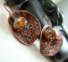Hammered Copper Earrings Lampwork Earrings by WillowCreekJewelry, $32.00