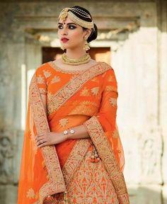 Orange Silk Crystals Stones Bridal Lehengacholi Clothes
