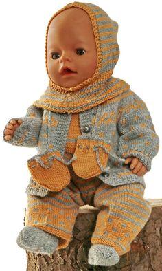 41-43 cm 3-teiliges Set gestrickt Puppenkleidung Gr