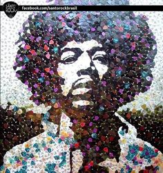 JIMI HENDRIX mosaic:All made of blades Fender.Via Flickr.