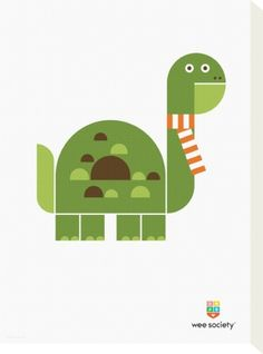 Wee Alphas, Don the Dinosaur Stretched Canvas Print by Wee Society at Art.co.uk