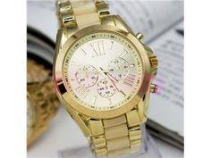 Geneva Fashion Men Gold Stainless Steel Quartz Analog Sport Women Wrist Watch