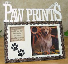 Pet Memorial Picture Frame Plaque  Resin Frame with Photo Opening and Loving Message Paw Prints On My Heart  Design That Goes with Any Decor  7 Inch ** Find out more about the great product at the image link.-It is an affiliate link to Amazon. #PictureFrames