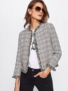 SheIn offers Frayed Trim Open Front Blazer & more to fit your fashionable needs. Jacket Outfit, Blazer Outfits, Casual Outfits, Blazer Jacket, Boucle Jacket, Tweed Jacket, Chanel Style Jacket, Jackett, What To Wear