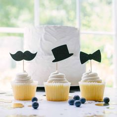 Little Man Cupcake Toppers - Moustache - Bowtie - Baby Shower - Birthday Little Man Cakes, Little Man Party, Little Man Birthday Party Ideas, Birthday Ideas, Baby Shower Cupcake Toppers, Baby Shower Cakes For Boys, Baby Cupcake, Cupcake Blog, Baby Boy 1st Birthday