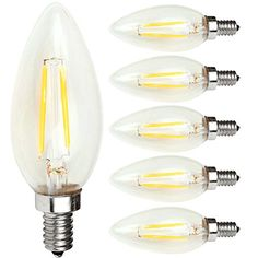 Kakanuo LED Filament Bulb Dimmable E12 Candelabra Base Warm White 2700K 2W  20W Equivalent C35 Candle Light AC110130V Fireworks Lamp Decorative LED BulbPack of 6 -- Be sure to check out this awesome product.