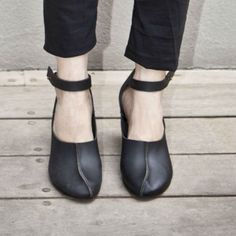 Black leather shoes for women with wooden heel by WalkByAnatDahari, $249.00