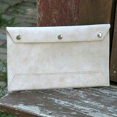 Leather Envelope Document Holder - Mottled Beige. $95.00, via Etsy.