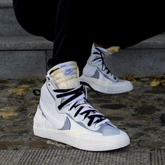 "pretty nice d8555 e028a HanZuYing on Instagram  ""On-feet look of the Sacai X Nike Blazer Mid White Wolf  Grey Cop or Drop? . . .  sacai  nikeblazer  airjordan1  airjordan  fashion…"