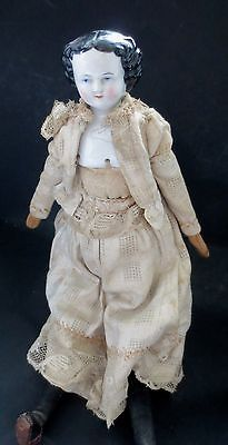 """Mid 19th Cent Antique China Doll Cloth Wood Body Dress Blue Eyes Stand 14""""   eBay"""