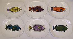 Washington Pottery Aquarius Fish Series Full Set of 6 Plates Retro Kitsch